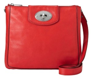 Fossil Leather Top Zip Closure Cross Body Bag