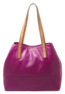 Fossil Leather Tote in Purple