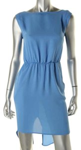 Against Nudity short dress Blue Mesh Chiffon Open Back on Tradesy
