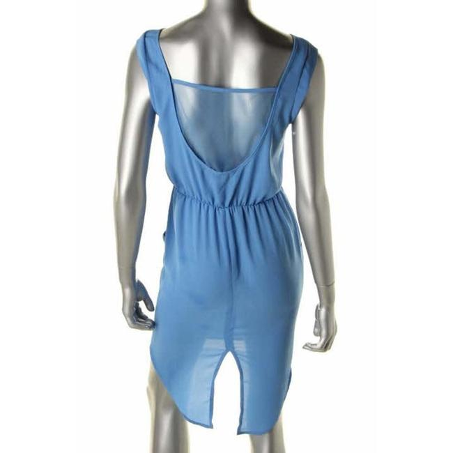 Against Nudity short dress Blue Mesh Chiffon Open Back Cap Sleeve Pullover Pockets Tail Hem on Tradesy