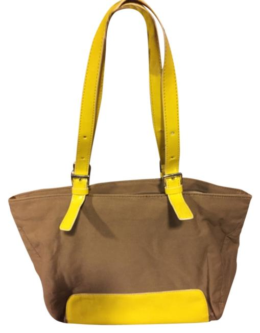 Item - Brown/Yellow Cloth/Patent Leather Tote