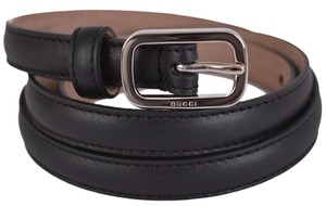 Gucci New Gucci Women's 354659 Black Leather Skinny Belt 36 90