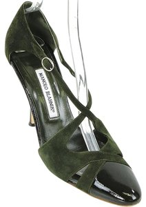 Manolo Blahnik Suede Patent Leather Dark Green Pumps