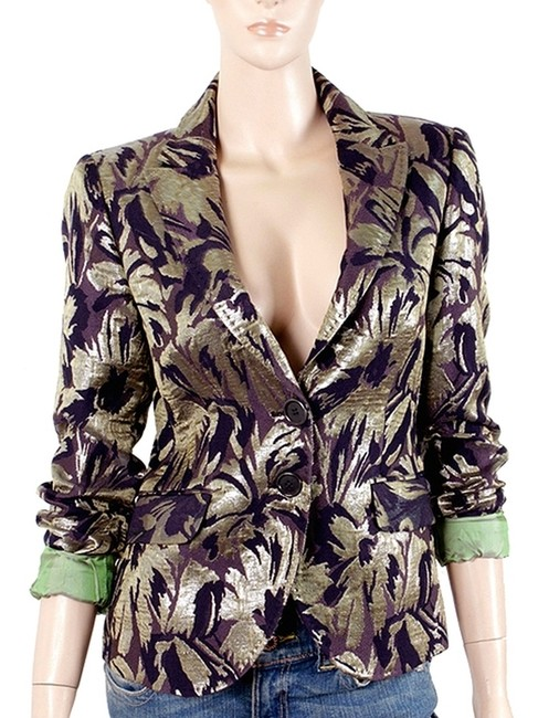 Etro Iridescent Embroidered Jacquard Casual Evening Party Gold, Green, Brown Blazer