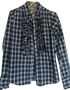 7 For All Mankind Button Down Shirt Checkered Navy & white