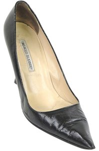 Manolo Blahnik Leather Evening Party Black Pumps