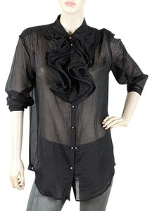 Lanvin Sheer Ruffle Evening Party Top Black