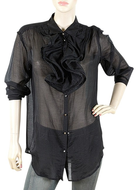 Preload https://img-static.tradesy.com/item/6731146/lanvin-black-shirts-sheer-ruffle-bib-jabot-blouse-size-6-s-0-1-650-650.jpg