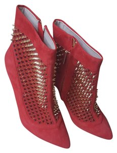 Zara Red Ankle Studded Suede Red/Gold Studs Boots