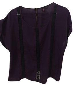 Material Girl Blacklace Top purple /black
