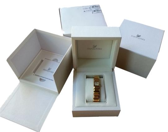 Swarovski Swarovski Authentic Brand New Baguette Gold Bangle Watch, Swiss Made
