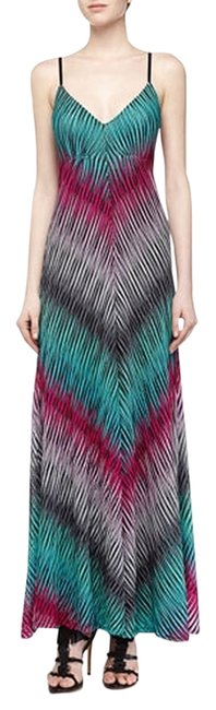 aqua Maxi Dress by Alberto Makali Summer Maxi Knit Stripe Chevron Pink Green
