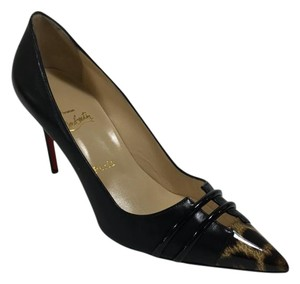 Christian Louboutin Bandy 100mm Leopard Loubs Black Pumps