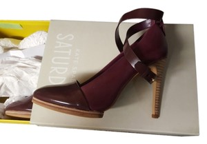 Kate Spade Saturday 3 In 1 Heel High Heels Leather Violet Size 7 New Burgundy Pumps