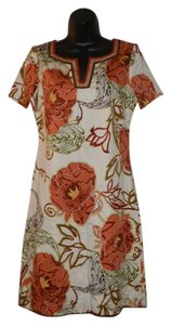 Dana Buchman short dress Orange, brown, green and red Shirtdress Lined Floral V-neck on Tradesy