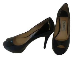 Vero Cuoio Lafenice Venezia Patent Leather Peep Toe Size 8.5 Excellent Condition Black Pumps