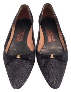 Salvatore Ferragamo Blue Denim Flats