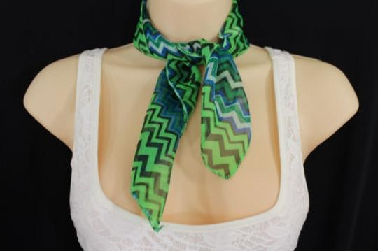 Alwaystyle4you Women Bright Green Neck Scarf Fabric Chevron Print Pocket Square Image 0