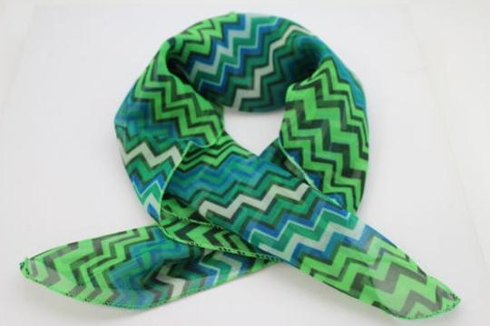 Alwaystyle4you Women Bright Green Neck Scarf Fabric Chevron Print Pocket Square Image 1