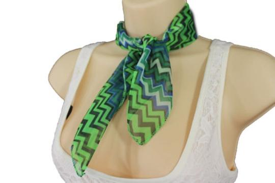 Alwaystyle4you Women Bright Green Neck Scarf Fabric Chevron Print Pocket Square Image 2