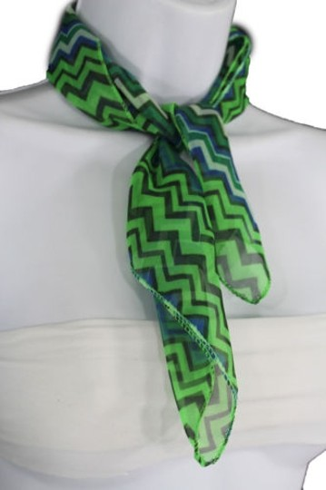 Alwaystyle4you Women Bright Green Neck Scarf Fabric Chevron Print Pocket Square Image 3