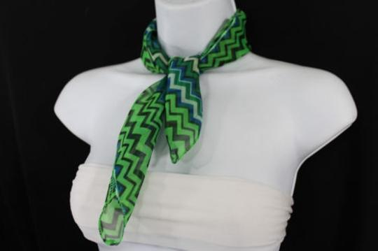 Alwaystyle4you Women Bright Green Neck Scarf Fabric Chevron Print Pocket Square Image 4