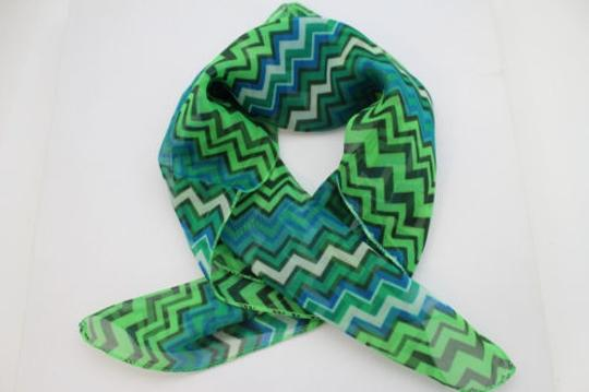 Alwaystyle4you Women Bright Green Neck Scarf Fabric Chevron Print Pocket Square Image 5