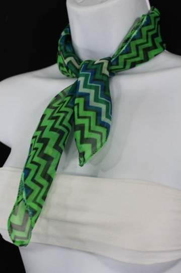 Alwaystyle4you Women Bright Green Neck Scarf Fabric Chevron Print Pocket Square Image 6