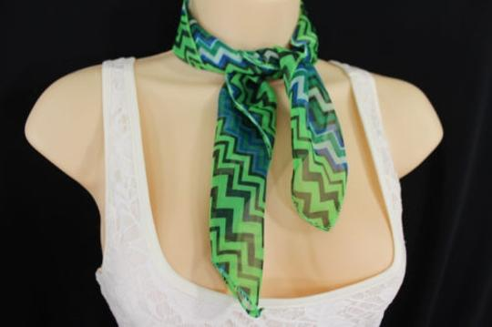 Alwaystyle4you Women Bright Green Neck Scarf Fabric Chevron Print Pocket Square Image 7