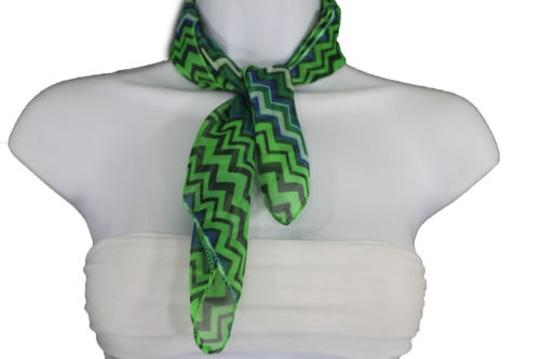 Alwaystyle4you Women Bright Green Neck Scarf Fabric Chevron Print Pocket Square Image 8