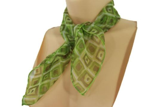 Alwaystyle4you Women Green Neck Scarf Fabric Geometric Square Print Pocket