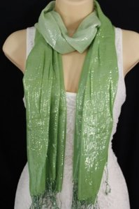 Women Fashion Green Neck Scarf Long Soft Fabric Tie Wrap Classic Bright Shiny