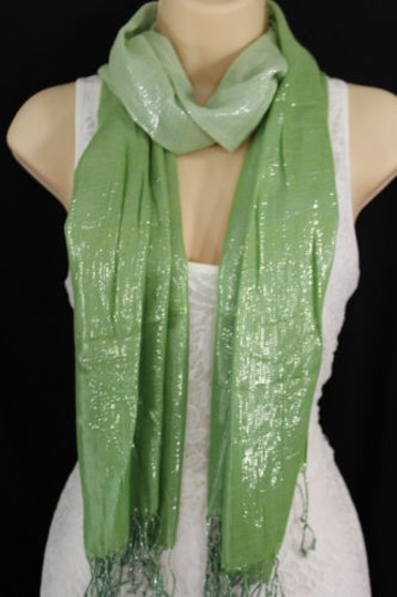 Alwaystyle4you Women Green Neck Scarf Long Soft Fabric Tie Wrap Bright Shiny Image 0