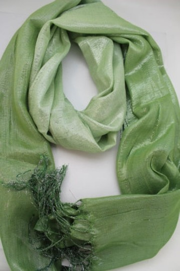Alwaystyle4you Women Green Neck Scarf Long Soft Fabric Tie Wrap Bright Shiny Image 1