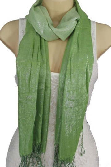 Alwaystyle4you Women Green Neck Scarf Long Soft Fabric Tie Wrap Bright Shiny Image 2