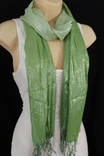 Alwaystyle4you Women Green Neck Scarf Long Soft Fabric Tie Wrap Bright Shiny Image 4