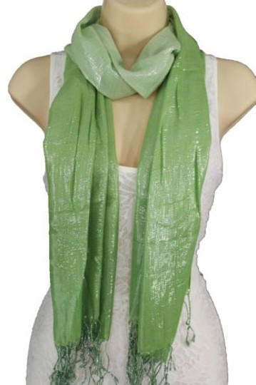Alwaystyle4you Women Green Neck Scarf Long Soft Fabric Tie Wrap Bright Shiny Image 5