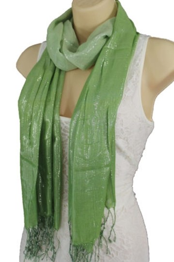 Alwaystyle4you Women Green Neck Scarf Long Soft Fabric Tie Wrap Bright Shiny Image 7