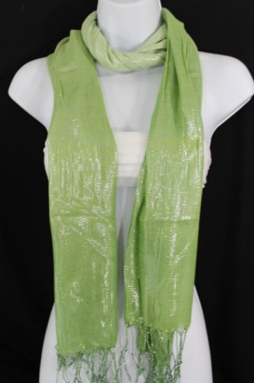 Alwaystyle4you Women Green Neck Scarf Long Soft Fabric Tie Wrap Bright Shiny Image 8