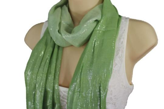 Alwaystyle4you Women Green Neck Scarf Long Soft Fabric Tie Wrap Bright Shiny Image 9