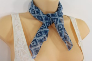 Other Women Blue Neck Scarf Fabric Geometric Square Print Pocket Square
