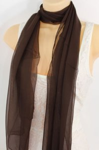 Other Women Fashion Dark Brown Neck Scarf Long Soft Sheer Fabric Tie Wrap Classic Long