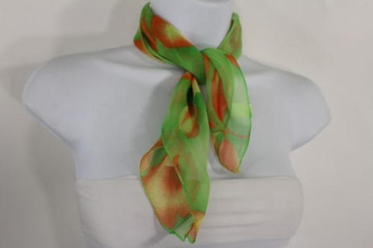 Other Women Green Neck Scarf Fabric Orange Flower Pocket Square