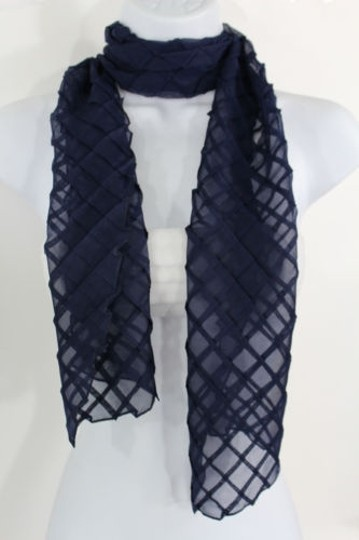 Alwaystyle4you Women Blue Neck Scarf Soft Fabric Tie Wrap Geometric Mosaic Plaid Image 0