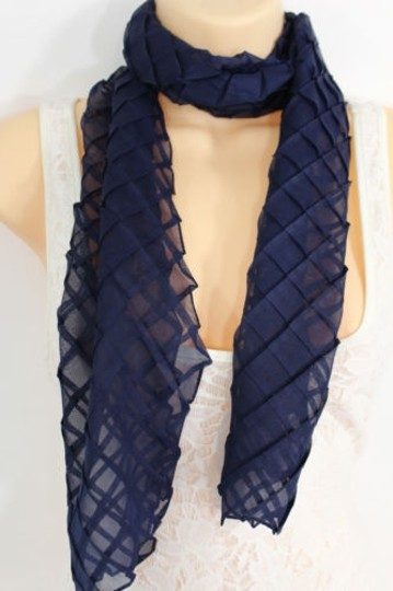 Alwaystyle4you Women Blue Neck Scarf Soft Fabric Tie Wrap Geometric Mosaic Plaid Image 1