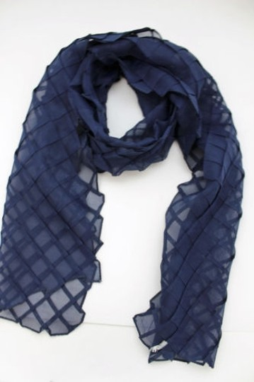 Alwaystyle4you Women Blue Neck Scarf Soft Fabric Tie Wrap Geometric Mosaic Plaid Image 3