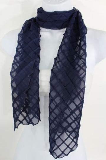 Other Women Fashion Long Blue Neck Scarf Soft Fabric Tie Wrap Geometric Mosaic Plaid
