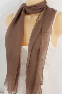 Other Women Long Brown Neck Scarf Soft Sheer Tie Wrap Classic Cool