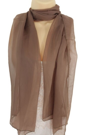 Other Women Long Brown Neck Scarf Soft Sheer Tie Wrap Classic Cool Image 1
