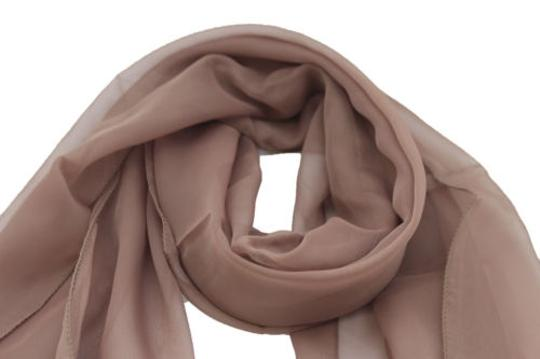 Other Women Long Brown Neck Scarf Soft Sheer Tie Wrap Classic Cool Image 2
